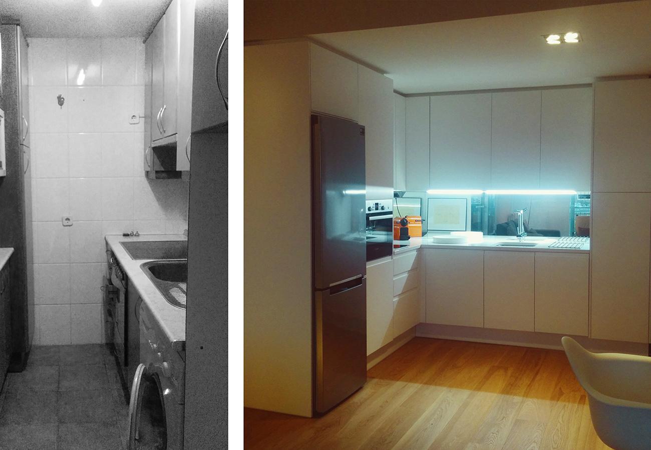 Antes y despúes de reforma de vivienda en Madrid